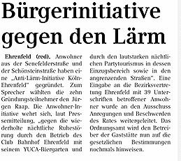 """Ehrenfeld (red). Anwohner haben eine """"Anti-Lärm-Initiative Köln-Ehrenfeld"""" gegründet."""